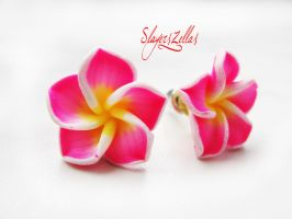 Pink polymer clay flowers post earrings by Benia1991