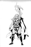 Thor summoning lightning -inks by SpiderGuile