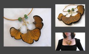 Ginkgo leaves leather necklace by julishland