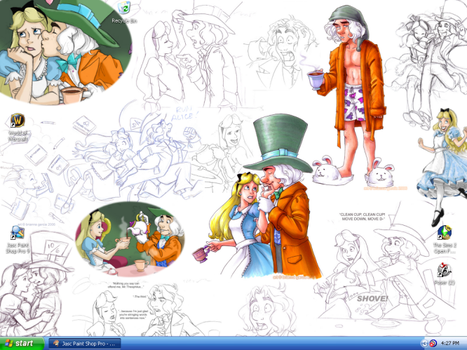 Alice and Mad Hatter Desktop by tinkfan83