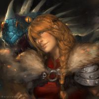 Astrid and Stormfly by IndahAlditha