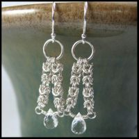 White Topaz Maille Earrings by redpandachainmail