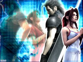 Zack and Aerith heart blue by LoveLoki