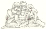 post-battle cuddle pile by silly-jj