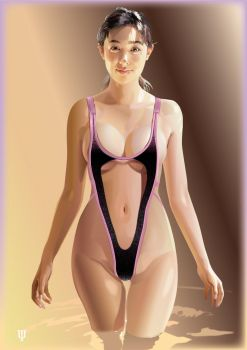 Swimsuit with a border of pink by GraphicDream