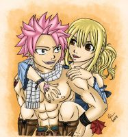 Natsu and Lucy - Piggyback Time! by GhostTitan
