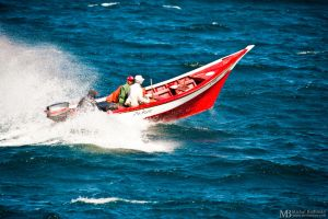 Fast red boat by Yupa