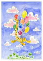 Giraffe and balloons- jkBunny by childrensillustrator