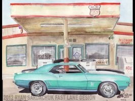 1969 Chevy Camaro SS At Gas Station by FastLaneIllustration