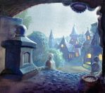 Fantasy Village at night by overcome