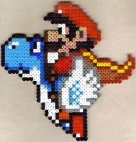 Caped Mario on blue Yoshi by Strago-Magus