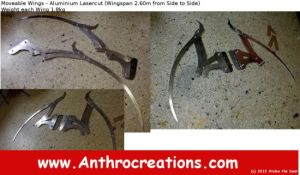 Moveable Foldable Dragon Wings Laser cuts Alu by AtalontheDeer