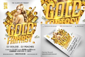Gold Fantasy Nightclub Psd Flyer Template by dennybusyet