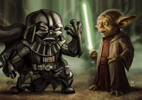 Yoda vs Lil Dude Darth Vader by Robert-Shane