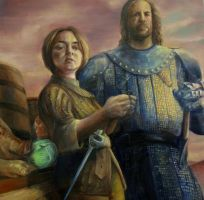 Arya Stark and Sandor Clegane by lowes4dljn