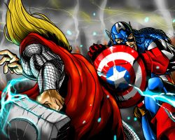 Thor vs Captain America by DarroldHansen