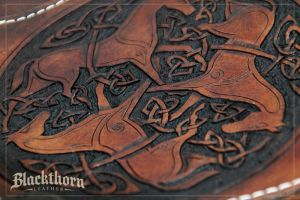 Celtic Horses Tooling Detail by Blackthornleather