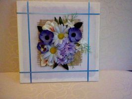 blue flower arrangement 3D canvas by HelenFlower