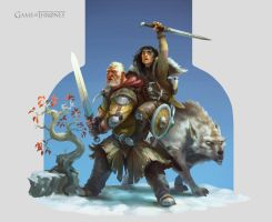 Hodor and Bran - Game of Thrones - Fan art by Mikeypetrov
