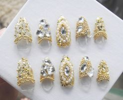 GOLD BEADS, GEMS NAIL SET by jadelushdesigns