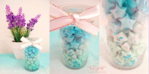 Blue Gradient Stars - White Ribbon - Blue Glitter by lillyxia