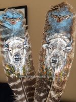 White Buffalo, Red Tailed Hawk Feathers by BrandyWoods