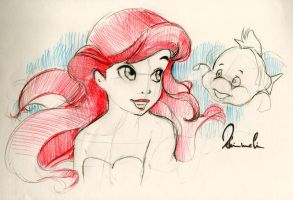 Ariel and Flounder Sketch by kleinmeli