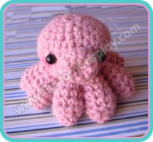 Pink amigurumi octopus by The-Cute-Storm