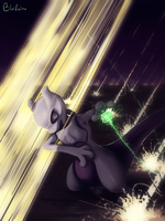 Mewtwo in combat by jkz123pl