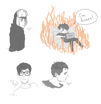 Dan and Phil doodles by iMiraDraws