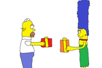 Homer and Marge exchanging gifts by Simpsonsfanatic33