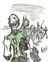Green Lantern and Batman by Tazartist19