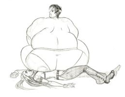 Overweight squashes Rachel by FatClubInc