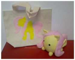 MLP - Gift - Fluttershy Bag and Pony-Puff by mihoyonagi