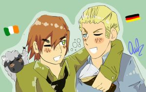 Hetalia - Germany and Ireland by unconventionalhill