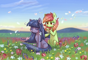 [Commission] Cosmia, Artline and flowers by KYAokay
