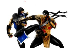 Sub-Zero V.S. Scorpion by secondsOfAutumn