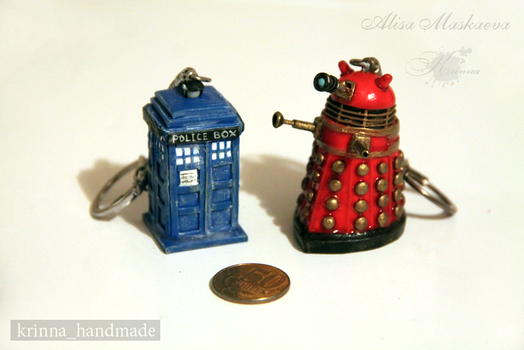 Dalek and Tardis polymer clay by Krinna