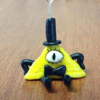 Bill Cipher Polymer clay Charm by TheSweetDisease