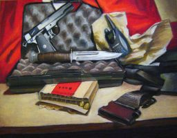 Oil pastel still life by Gunship-Totalization