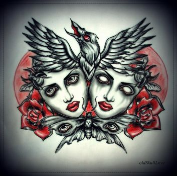 DEAD HEADS with RAVEN tattoo design by MWeiss-Art