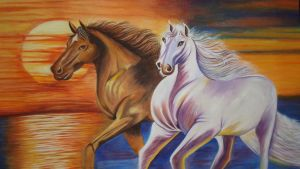 The Rivals- Original Water Color Painting by neeruart