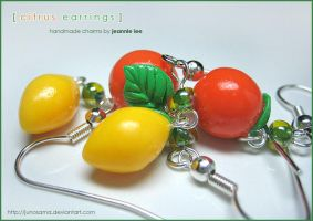 Fruit - Citrus Earrings 1 by junosama