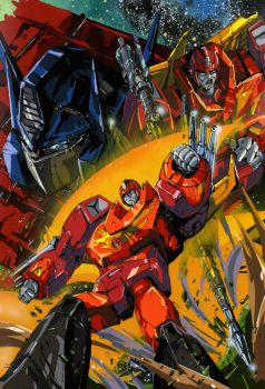 Convoy, Rodimus and Rodimus Convoy by marble-v