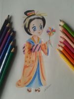 Chibi with coloured-pencils by NikkouViolet