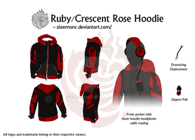 Ruby/Cresent Rose Hoodie by Sleemonc