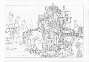 Tumbletown - Pencil Sketch by MikeDoscher