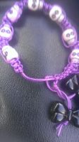 Purple Skull Bracelet With Black Bows by Rini-Dragoone