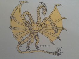 King Ghidorah Colored by HollowDrake92