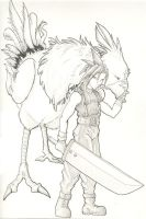 Unfinished Cloud and Chocobo by RebelKiwi